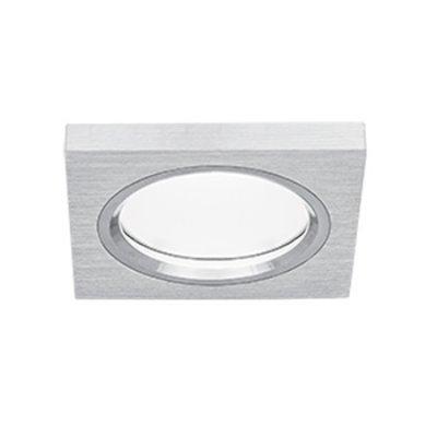 Светильник Gauss Aluminium AL006 Квадрат. Матовый алюминий, Gu5.3Квадратные<br><br><br>S освещ. до, м2: 3<br>Тип товара: точечный встраиваемый светильник<br>Тип лампы: галогенная/LED<br>Тип цоколя: GU5.3 (MR16)<br>Количество ламп: 1<br>Ширина, мм: 75<br>MAX мощность ламп, Вт: 50<br>Диаметр врезного отверстия, мм: 60<br>Длина, мм: 75<br>Высота, мм: 30<br>Цвет арматуры: серебристый