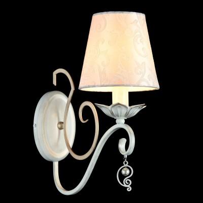 Бра Maytoni ARM004-01-W MonileКлассические<br><br><br>Тип лампы: накаливания / энергосбережения / LED-светодиодная<br>Тип цоколя: E14<br>Количество ламп: 1<br>MAX мощность ламп, Вт: 40<br>Диаметр, мм мм: 140<br>Высота, мм: 330<br>Цвет арматуры: белый с золотистой патиной