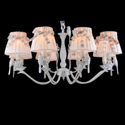 Люстра Maytoni ARM013-08-W с птичкамиПодвесные<br><br><br>Установка на натяжной потолок: Да<br>S освещ. до, м2: 21<br>Крепление: Крюк<br>Тип товара: Люстра<br>Тип лампы: накаливания / энергосбережения / LED-светодиодная<br>Тип цоколя: E14<br>Количество ламп: 8<br>MAX мощность ламп, Вт: 40<br>Диаметр, мм мм: 750<br>Длина цепи/провода, мм: 400<br>Высота, мм: 480 - 1500<br>Цвет арматуры: белый