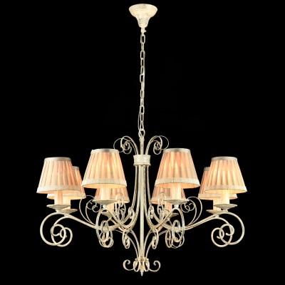 Люстра Maytoni ARM029-08-W FelicitaПодвесные<br><br><br>Установка на натяжной потолок: Да<br>S освещ. до, м2: 16<br>Крепление: Крюк<br>Тип лампы: накаливания / энергосбережения / LED-светодиодная<br>Тип цоколя: E14<br>Количество ламп: 8<br>MAX мощность ламп, Вт: 40<br>Диаметр, мм мм: 780<br>Длина цепи/провода, мм: 400<br>Высота, мм: 560<br>Цвет арматуры: белый