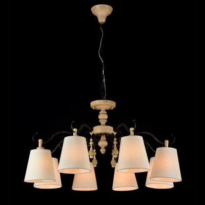 Светильник Maytoni ARM034-08-RПодвесные<br><br><br>Установка на натяжной потолок: Да<br>S освещ. до, м2: 16<br>Крепление: Крюк<br>Тип товара: Люстра<br>Скидка, %: 9<br>Тип лампы: Накаливания / энергосбережения / светодиодная<br>Тип цоколя: E14<br>Количество ламп: 8<br>MAX мощность ламп, Вт: 40<br>Диаметр, мм мм: 770<br>Высота, мм: 420 - 1000<br>Цвет арматуры: деревянный