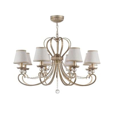 Люстра Maytoni ARM144-08-WG Livornoлюстры подвесные классические<br><br><br>Тип лампы: Накаливания / энергосбережения / светодиодная<br>Тип цоколя: E14<br>Цвет арматуры: Кремовое золотой<br>Количество ламп: 8<br>Диаметр, мм мм: 900<br>Высота, мм: 810<br>Поверхность арматуры: матовая<br>Оттенок (цвет): золотой<br>MAX мощность ламп, Вт: 40<br>Общая мощность, Вт: 320