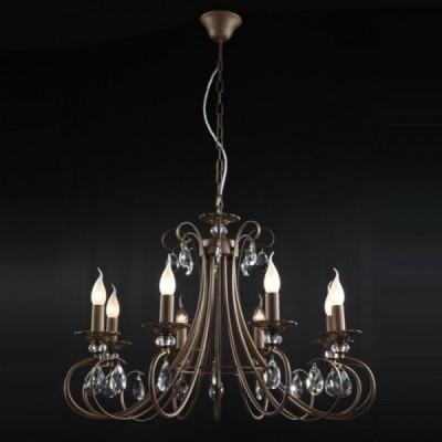 Люстра Maytoni ARM280-08-R Elegant 10Подвесные<br>Завораживающая взгляд хрустальная люстра выставлена в продажу немецким брендом Майтони. Она, как несложно заметить на фото, относится к классическому типу световых приборов, и содержит в себе восемь плафонов – свечек, располагающихся каждая на отдельном рожке витого бронзового каркаса. Теплый свет от лампочек позволит вам организовать достаточно объемное освещение в любой из комнат. Заметьте, что стоимость комплекта ламп не вошла в заявленную компанией Maytoni цену. Поэтому постарайтесь купить его дополнительно к хрустальной люстре Maytoni Elegant ARM280-08-R.<br><br>Установка на натяжной потолок: Да<br>S освещ. до, м2: 32<br>Крепление: Крюк<br>Тип лампы: накаливания / энергосбережения / LED-светодиодная<br>Тип цоколя: E14<br>Количество ламп: 8<br>MAX мощность ламп, Вт: 60<br>Диаметр, мм мм: 770<br>Длина цепи/провода, мм: 400<br>Высота, мм: 540<br>Цвет арматуры: коричневый