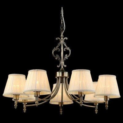 Люстра Maytoni ARM330-07-R Elegant 9Подвесные<br>Массивная подвесная люстра представлена в коллекции Elegant известного во всем мире бренда Майтони. Ее изображение представлено на фото, изучив которое вы заметите, что подвесная люстра Maytoni Elegant RM330-07-R состоит из бронзовых металлических рожков, отличающихся классической формой, семи традиционных текстильных плафонов и двух кованых фигур, украшающих подвес прибора. Совершая данную покупку, не забудьте о том, что компания-производитель, Maytoni, не включила стоимость лампочек в цену комплекта. Это значит, что вам стоит дополнительно заказать семь лампочек с цоколем Е14.<br><br>Установка на натяжной потолок: Да<br>S освещ. до, м2: 28<br>Крепление: Крюк<br>Тип лампы: накаливания / энергосбережения / LED-светодиодная<br>Тип цоколя: E14<br>Цвет арматуры: бронзовый<br>Количество ламп: 7<br>Диаметр, мм мм: 750<br>Длина цепи/провода, мм: 400<br>Высота, мм: 530<br>MAX мощность ламп, Вт: 60