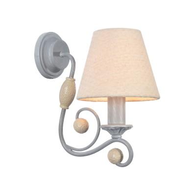 Бра Maytoni ARM355-WL-01-GR Rebeccaбра рустика<br><br><br>Тип лампы: Накаливания / энергосбережения / светодиодная<br>Тип цоколя: E14<br>Цвет арматуры: Серый<br>Количество ламп: 1<br>Ширина, мм: 135<br>Глубина, мм: 212<br>Высота, мм: 229<br>MAX мощность ламп, Вт: 40
