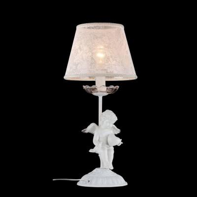 Настольная лампа Maytoni ARM392-11-W Elegant 44Прованс<br>Декоративная настольная лампа от компании Maytoni станет уникальным элементом вашего интерьера. Представленное на фото изделие будет прекрасно смотреться в любой месте: на журнальном столике в гостиной, на прикроватной тумбочке в спальне или же на рабочем столе в кабинете. Декоративная настольная лампа Maytoni ARM392-11-W представляет собой изящную конструкцию из тонкой ажурной ткани белого цвета и матово-белой металлической ножки. Особую ценность изделию придает очаровательный ангелок, удобно расположившийся у основания лампы. Он задает композиции умилительно-игривый тон и делает стоимость изделия вполне оправданной. Для покупки этого устройства от Майтони просто добавьте товар в корзину и оформите заявку.<br><br>S освещ. до, м2: 2<br>Тип лампы: накаливания / энергосбережения / LED-светодиодная<br>Тип цоколя: E14<br>Цвет арматуры: золотой<br>Количество ламп: 1<br>Диаметр, мм мм: 220<br>Высота, мм: 480<br>MAX мощность ламп, Вт: 40