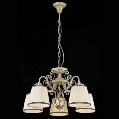 Люстра Maytoni ARM420-05-G Elegant 20Подвесные<br>Удивительно, как много света могут дать пять небольших лампочек по 40W, если они вставлены в светлого оттенка плафоны. Арматура данной подвесной люстры выполнена в стиле классического барокко, а оригинальный дизайн создан известной фирмой Майтони. Такая модель уместна в комнате средних размеров. На представленном фото — подвесная люстра Maytoni ARM420-05-G. Купить ее можно за вполне разумную цену. Принципиальной позицией немецкой компании Maytoni является отличное качество и невысокая стоимость выпускаемой продукции. Повесить люстру можно при помощи монтажа на потолочный крючок, что не требует особых усилий.<br><br>Установка на натяжной потолок: Да<br>S освещ. до, м2: 13<br>Крепление: Крюк<br>Тип лампы: накаливания / энергосбережения / LED-светодиодная<br>Тип цоколя: E14<br>Количество ламп: 5<br>MAX мощность ламп, Вт: 40<br>Диаметр, мм мм: 580<br>Длина цепи/провода, мм: 400<br>Высота, мм: 390<br>Цвет арматуры: белый с золотистой патиной