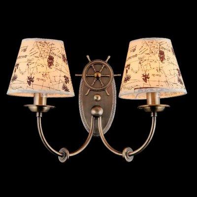 Светильник бра Maytoni ARM625-02-R Elegant 54Морской стиль<br><br><br>S освещ. до, м2: 5<br>Тип лампы: накаливания / энергосбережения / LED-светодиодная<br>Тип цоколя: E14<br>Количество ламп: 2<br>Ширина, мм: 330<br>MAX мощность ламп, Вт: 40<br>Выступ, мм: 190<br>Высота, мм: 270<br>Цвет арматуры: бронзовый