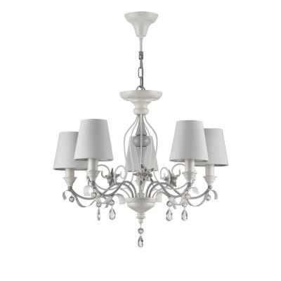 Люстра Maytoni ARM790-PL-05-W Floretлюстры флористика подвесные<br><br><br>S освещ. до, м2: 10<br>Тип лампы: накаливания / энергосбережения / LED-светодиодная<br>Тип цоколя: E14<br>Цвет арматуры: Белый<br>Количество ламп: 5<br>Глубина, мм: 600<br>Длина цепи/провода, мм: 1500<br>Оттенок (цвет): Белый<br>MAX мощность ламп, Вт: 40