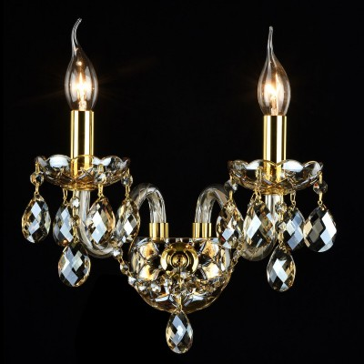 Бра Maytoni DIA937-WL-02-G BrandyХрустальные<br><br><br>Тип лампы: накаливания / энергосбережения / LED-светодиодная<br>Тип цоколя: E14<br>Цвет арматуры: золотой<br>Количество ламп: 2<br>Диаметр, мм мм: 330<br>Высота, мм: 350<br>MAX мощность ламп, Вт: 60