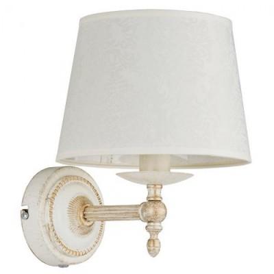 Alfa ROKSANA WHITE 18530 настенный светильникКлассические<br><br><br>Крепление: Настенное<br>Тип лампы: Накаливания / энергосбережения / светодиодная<br>Тип цоколя: E14<br>Цвет арматуры: Белый патина<br>Количество ламп: 1<br>Ширина, мм: 280<br>Размеры: размер коробки 270x270x220см.<br>Высота, мм: 350<br>MAX мощность ламп, Вт: 40