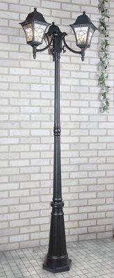 Altair F/3 черный Электростандарт Светильник трехрожковый на столбеУличные фонари с несколькими плафонами<br>Мощность: 3x60 Вт Цоколь: E27 Размер: 689 х 689 х 2090 мм Светильник предназначен для освещения садово-парковых зон, а также внутреннего и внешнего освещения зданий. Степень пылевлагозащиты IР44 позволяет устанавливать светильник под открытым небом. Корпус светильника изготовлен из алюминиевого сплава, рассеиватель выполнен из витражного стекла ручной работы. Покрытие светильника устойчиво к воздействию окружающей среды и надежно защищает его от коррозии.<br><br>Крепление: настенное<br>Тип лампы: накаливания / энергосбережения / LED-светодиодная<br>Тип цоколя: Е27<br>Цвет арматуры: черный<br>Количество ламп: 1<br>Ширина, мм: 689<br>Длина, мм: 689<br>Высота, мм: 2285<br>Оттенок (цвет): серый<br>MAX мощность ламп, Вт: 60