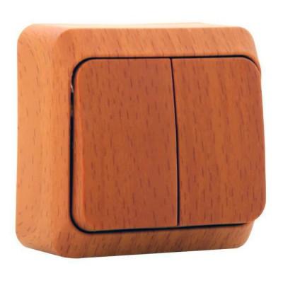 Lexel Этюд Дача Темный бук Выключатель 2-клавишныйДача<br><br><br>Оттенок (цвет): под дерево