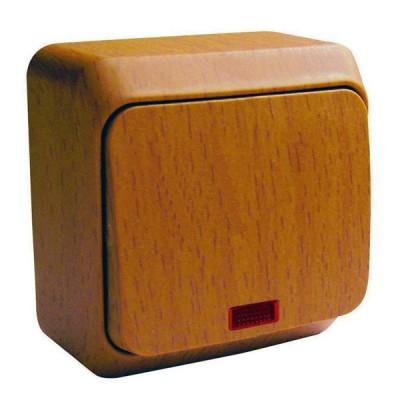 Lexel Этюд Дача Темный бук Выключатель 1-клавишный с подсветкой (BA10-005T)Дача<br><br><br>Оттенок (цвет): под дерево