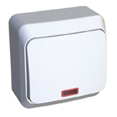 Lexel Этюд Одноклавишный выключатель с подсветкой (СХ.1) белый (накладные) (BA10-045b)Белый<br><br><br>Оттенок (цвет): белый
