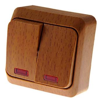 Lexel Этюд Дача Темный бук Выключатель 2-клавишный с подсветкойДача<br><br><br>Тип товара: Выключатель<br>Оттенок (цвет): под дерево