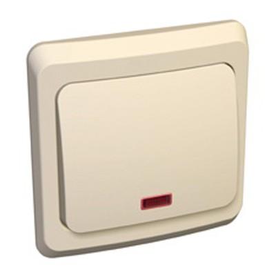 Lexel Этюд Одноклавишный выключатель с подсветкой (СХ.1) кремовый (скр.устан.) (BC10-005k)Крем<br><br><br>Оттенок (цвет): бежевый
