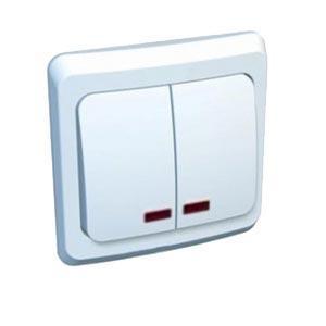Lexel Этюд Двухклавишный выключатель с подсветкой (СХ.5) белый (скр.устан.) (BC10-006b)Белый<br><br><br>Оттенок (цвет): белый