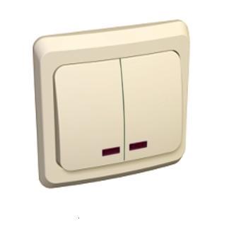 Lexel Этюд Двухклавишный выключатель с подсветкой (СХ.5) кремовый (скр.устан.) (BC10-006k)Крем<br><br><br>Оттенок (цвет): бежевый