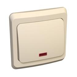 Lexel Этюд 1-кл. переключатель с подсветкой (СХ.6) кремовый (скр.устан.) (BC10-007k)Крем<br><br><br>Тип товара: Переключатель<br>Оттенок (цвет): бежевый