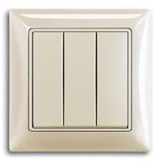Выключатель 3-клавишный альпийский белый Basik 55 (ABB) [BJB 106/3/1 UC-94] 1012-0-2155