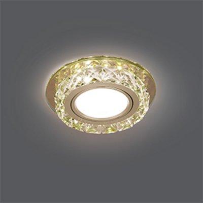 Светильник Gauss Backlight BL043 Кругл. Шампань/Кристалл/Хром, Gu5.3, LED 2700KХрустальные<br>Встраиваемые светильники – популярное осветительное оборудование, которое можно использовать в качестве основного источника или в дополнение к люстре. Они позволяют создать нужную атмосферу атмосферу и привнести в интерьер уют и комфорт.   Интернет-магазин «Светодом» предлагает стильный встраиваемый светильник Gauss Backlight BL043. Данная модель достаточно универсальна, поэтому подойдет практически под любой интерьер. Перед покупкой не забудьте ознакомиться с техническими параметрами, чтобы узнать тип цоколя, площадь освещения и другие важные характеристики.   Приобрести встраиваемый светильник Gauss Backlight BL043 в нашем онлайн-магазине Вы можете либо с помощью «Корзины», либо по контактным номерам. Мы развозим заказы по Москве, Екатеринбургу и остальным российским городам.<br><br>S освещ. до, м2: 3<br>Тип лампы: галогенная/LED<br>Тип цоколя: GU5.3 (MR16)<br>Количество ламп: 1<br>MAX мощность ламп, Вт: 50<br>Диаметр, мм мм: 95<br>Диаметр врезного отверстия, мм: 65<br>Высота, мм: 35<br>Цвет арматуры: серебристый
