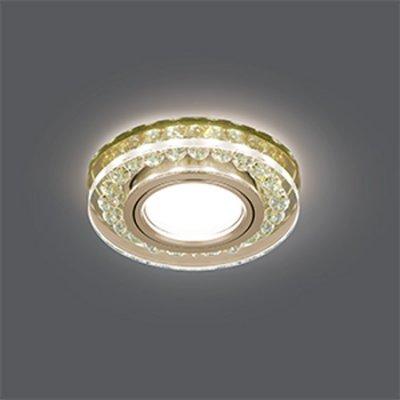 Светильник Gauss Backlight BL048 Кругл. Шампань/Кристалл/Хром, Gu5.3, LED 2700KХрустальные<br>Встраиваемые светильники – популярное осветительное оборудование, которое можно использовать в качестве основного источника или в дополнение к люстре. Они позволяют создать нужную атмосферу атмосферу и привнести в интерьер уют и комфорт.   Интернет-магазин «Светодом» предлагает стильный встраиваемый светильник Gauss Backlight BL048. Данная модель достаточно универсальна, поэтому подойдет практически под любой интерьер. Перед покупкой не забудьте ознакомиться с техническими параметрами, чтобы узнать тип цоколя, площадь освещения и другие важные характеристики.   Приобрести встраиваемый светильник Gauss Backlight BL048 в нашем онлайн-магазине Вы можете либо с помощью «Корзины», либо по контактным номерам. Мы развозим заказы по Москве, Екатеринбургу и остальным российским городам.<br><br>S освещ. до, м2: 3<br>Тип лампы: галогенная/LED<br>Тип цоколя: GU5.3 (MR16)<br>Количество ламп: 1<br>MAX мощность ламп, Вт: 50<br>Диаметр, мм мм: 95<br>Диаметр врезного отверстия, мм: 65<br>Высота, мм: 35<br>Цвет арматуры: серебристый