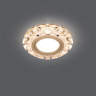 Светильник Gauss Backlight BL049 Кругл. Кристалл/Хром, Gu5.3, LED 2700KХрустальные<br>Встраиваемые светильники – популярное осветительное оборудование, которое можно использовать в качестве основного источника или в дополнение к люстре. Они позволяют создать нужную атмосферу атмосферу и привнести в интерьер уют и комфорт.   Интернет-магазин «Светодом» предлагает стильный встраиваемый светильник Gauss Backlight BL049. Данная модель достаточно универсальна, поэтому подойдет практически под любой интерьер. Перед покупкой не забудьте ознакомиться с техническими параметрами, чтобы узнать тип цоколя, площадь освещения и другие важные характеристики.   Приобрести встраиваемый светильник Gauss Backlight BL049 в нашем онлайн-магазине Вы можете либо с помощью «Корзины», либо по контактным номерам. Мы развозим заказы по Москве, Екатеринбургу и остальным российским городам.<br><br>S освещ. до, м2: 3<br>Тип лампы: галогенная/LED<br>Тип цоколя: GU5.3 (MR16)<br>Цвет арматуры: серебристый<br>Количество ламп: 1<br>Диаметр, мм мм: 95<br>Диаметр врезного отверстия, мм: 65<br>Высота, мм: 35<br>MAX мощность ламп, Вт: 50