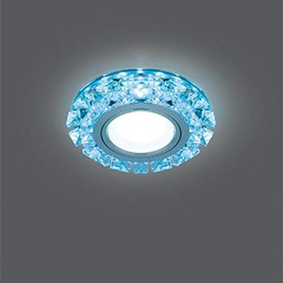 Светильник Gauss Backlight BL050 Кругл. Кристалл/Хром, Gu5.3, LED 4100KХрустальные<br>Встраиваемые светильники – популярное осветительное оборудование, которое можно использовать в качестве основного источника или в дополнение к люстре. Они позволяют создать нужную атмосферу атмосферу и привнести в интерьер уют и комфорт.   Интернет-магазин «Светодом» предлагает стильный встраиваемый светильник Gauss Backlight BL050. Данная модель достаточно универсальна, поэтому подойдет практически под любой интерьер. Перед покупкой не забудьте ознакомиться с техническими параметрами, чтобы узнать тип цоколя, площадь освещения и другие важные характеристики.   Приобрести встраиваемый светильник Gauss Backlight BL050 в нашем онлайн-магазине Вы можете либо с помощью «Корзины», либо по контактным номерам. Мы развозим заказы по Москве, Екатеринбургу и остальным российским городам.<br><br>S освещ. до, м2: 3<br>Тип лампы: галогенная/LED<br>Тип цоколя: GU5.3 (MR16)<br>Цвет арматуры: серебристый<br>Количество ламп: 1<br>Диаметр, мм мм: 95<br>Диаметр врезного отверстия, мм: 65<br>Высота, мм: 35<br>MAX мощность ламп, Вт: 50