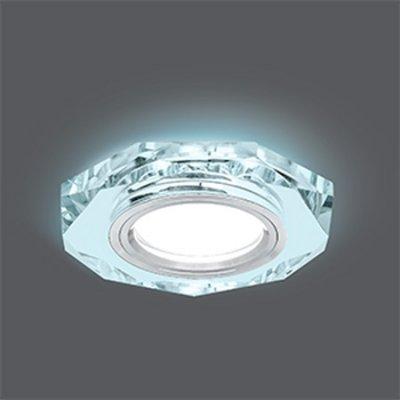 Светильник Gauss Backlight BL054 Восемь гран. Кристалл/Хром, Gu5.3, LED 4100KКруглые<br>Встраиваемые светильники – популярное осветительное оборудование, которое можно использовать в качестве основного источника или в дополнение к люстре. Они позволяют создать нужную атмосферу атмосферу и привнести в интерьер уют и комфорт.   Интернет-магазин «Светодом» предлагает стильный встраиваемый светильник Gauss Backlight BL054. Данная модель достаточно универсальна, поэтому подойдет практически под любой интерьер. Перед покупкой не забудьте ознакомиться с техническими параметрами, чтобы узнать тип цоколя, площадь освещения и другие важные характеристики.   Приобрести встраиваемый светильник Gauss Backlight BL054 в нашем онлайн-магазине Вы можете либо с помощью «Корзины», либо по контактным номерам. Мы развозим заказы по Москве, Екатеринбургу и остальным российским городам.<br><br>S освещ. до, м2: 3<br>Тип лампы: галогенная/LED<br>Тип цоколя: GU5.3 (MR16)<br>Количество ламп: 1<br>MAX мощность ламп, Вт: 50<br>Диаметр, мм мм: 90<br>Диаметр врезного отверстия, мм: 65<br>Высота, мм: 25<br>Цвет арматуры: серебристый