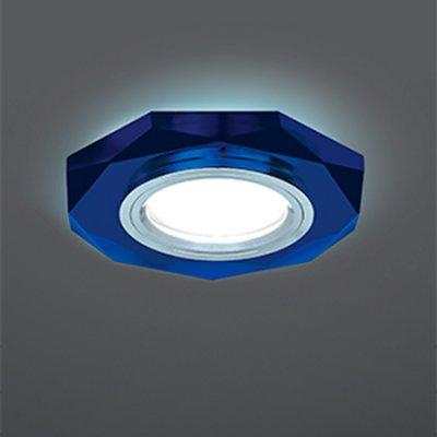 Светильник Gauss Backlight BL055 Восемь гран. Синий/Хром, Gu5.3, LED 4100KКруглые<br>Встраиваемые светильники – популярное осветительное оборудование, которое можно использовать в качестве основного источника или в дополнение к люстре. Они позволяют создать нужную атмосферу атмосферу и привнести в интерьер уют и комфорт.   Интернет-магазин «Светодом» предлагает стильный встраиваемый светильник Gauss Backlight BL055. Данная модель достаточно универсальна, поэтому подойдет практически под любой интерьер. Перед покупкой не забудьте ознакомиться с техническими параметрами, чтобы узнать тип цоколя, площадь освещения и другие важные характеристики.   Приобрести встраиваемый светильник Gauss Backlight BL055 в нашем онлайн-магазине Вы можете либо с помощью «Корзины», либо по контактным номерам. Мы развозим заказы по Москве, Екатеринбургу и остальным российским городам.<br><br>S освещ. до, м2: 3<br>Тип лампы: галогенная/LED<br>Тип цоколя: GU5.3 (MR16)<br>Количество ламп: 1<br>MAX мощность ламп, Вт: 50<br>Диаметр, мм мм: 90<br>Диаметр врезного отверстия, мм: 65<br>Высота, мм: 25<br>Цвет арматуры: серебристый