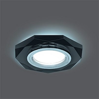 Светильник Gauss Backlight BL056 Восемь гран. Графит/Хром, Gu5.3, LED 4100KКруглые<br>Встраиваемые светильники – популярное осветительное оборудование, которое можно использовать в качестве основного источника или в дополнение к люстре. Они позволяют создать нужную атмосферу атмосферу и привнести в интерьер уют и комфорт.   Интернет-магазин «Светодом» предлагает стильный встраиваемый светильник Gauss Backlight BL056. Данная модель достаточно универсальна, поэтому подойдет практически под любой интерьер. Перед покупкой не забудьте ознакомиться с техническими параметрами, чтобы узнать тип цоколя, площадь освещения и другие важные характеристики.   Приобрести встраиваемый светильник Gauss Backlight BL056 в нашем онлайн-магазине Вы можете либо с помощью «Корзины», либо по контактным номерам. Мы развозим заказы по Москве, Екатеринбургу и остальным российским городам.<br><br>S освещ. до, м2: 3<br>Тип лампы: галогенная/LED<br>Тип цоколя: GU5.3 (MR16)<br>Количество ламп: 1<br>MAX мощность ламп, Вт: 50<br>Диаметр, мм мм: 90<br>Диаметр врезного отверстия, мм: 65<br>Высота, мм: 25<br>Цвет арматуры: серебристый