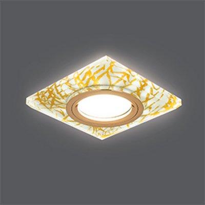 Светильник Gauss Backlight BL074 Квадрат. Золотой узор/Золото, Gu5.3, LED 2700KКвадратные<br>Встраиваемые светильники – популярное осветительное оборудование, которое можно использовать в качестве основного источника или в дополнение к люстре. Они позволяют создать нужную атмосферу атмосферу и привнести в интерьер уют и комфорт.   Интернет-магазин «Светодом» предлагает стильный встраиваемый светильник Gauss Backlight BL074. Данная модель достаточно универсальна, поэтому подойдет практически под любой интерьер. Перед покупкой не забудьте ознакомиться с техническими параметрами, чтобы узнать тип цоколя, площадь освещения и другие важные характеристики.   Приобрести встраиваемый светильник Gauss Backlight BL074 в нашем онлайн-магазине Вы можете либо с помощью «Корзины», либо по контактным номерам. Мы развозим заказы по Москве, Екатеринбургу и остальным российским городам.<br><br>S освещ. до, м2: 3<br>Тип лампы: галогенная/LED<br>Тип цоколя: GU5.3 (MR16)<br>Количество ламп: 1<br>Ширина, мм: 95<br>MAX мощность ламп, Вт: 50<br>Диаметр врезного отверстия, мм: 65<br>Длина, мм: 95<br>Высота, мм: 25<br>Цвет арматуры: Золотой