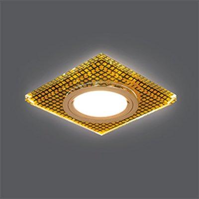 Светильник Gauss Backlight BL075 Квадрат. Кристалл/Черный/Золото, Gu5.3, LED 2700KКвадратные<br>Встраиваемые светильники – популярное осветительное оборудование, которое можно использовать в качестве основного источника или в дополнение к люстре. Они позволяют создать нужную атмосферу атмосферу и привнести в интерьер уют и комфорт.   Интернет-магазин «Светодом» предлагает стильный встраиваемый светильник Gauss Backlight BL075. Данная модель достаточно универсальна, поэтому подойдет практически под любой интерьер. Перед покупкой не забудьте ознакомиться с техническими параметрами, чтобы узнать тип цоколя, площадь освещения и другие важные характеристики.   Приобрести встраиваемый светильник Gauss Backlight BL075 в нашем онлайн-магазине Вы можете либо с помощью «Корзины», либо по контактным номерам. Мы развозим заказы по Москве, Екатеринбургу и остальным российским городам.<br><br>S освещ. до, м2: 3<br>Тип лампы: галогенная/LED<br>Тип цоколя: GU5.3 (MR16)<br>Количество ламп: 1<br>Ширина, мм: 90<br>MAX мощность ламп, Вт: 50<br>Диаметр врезного отверстия, мм: 65<br>Длина, мм: 90<br>Высота, мм: 25<br>Цвет арматуры: Золотой