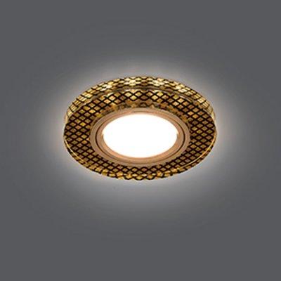 Светильник Gauss Backlight BL076 Круг Кристалл/Черный/Золото, Gu5.3, LED 2700KКруглые<br>Встраиваемые светильники – популярное осветительное оборудование, которое можно использовать в качестве основного источника или в дополнение к люстре. Они позволяют создать нужную атмосферу атмосферу и привнести в интерьер уют и комфорт.   Интернет-магазин «Светодом» предлагает стильный встраиваемый светильник Gauss Backlight BL076. Данная модель достаточно универсальна, поэтому подойдет практически под любой интерьер. Перед покупкой не забудьте ознакомиться с техническими параметрами, чтобы узнать тип цоколя, площадь освещения и другие важные характеристики.   Приобрести встраиваемый светильник Gauss Backlight BL076 в нашем онлайн-магазине Вы можете либо с помощью «Корзины», либо по контактным номерам. Мы развозим заказы по Москве, Екатеринбургу и остальным российским городам.<br><br>S освещ. до, м2: 3<br>Тип лампы: галогенная/LED<br>Тип цоколя: GU5.3 (MR16)<br>Количество ламп: 1<br>MAX мощность ламп, Вт: 50<br>Диаметр, мм мм: 90<br>Диаметр врезного отверстия, мм: 65<br>Высота, мм: 25<br>Цвет арматуры: Золотой