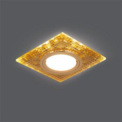 Светильник Gauss Backlight BL077 Квадрат. Золото/Кристалл/Золото, Gu5.3, LED 2700KКвадратные<br>Встраиваемые светильники – популярное осветительное оборудование, которое можно использовать в качестве основного источника или в дополнение к люстре. Они позволяют создать нужную атмосферу атмосферу и привнести в интерьер уют и комфорт.   Интернет-магазин «Светодом» предлагает стильный встраиваемый светильник Gauss Backlight BL077. Данная модель достаточно универсальна, поэтому подойдет практически под любой интерьер. Перед покупкой не забудьте ознакомиться с техническими параметрами, чтобы узнать тип цоколя, площадь освещения и другие важные характеристики.   Приобрести встраиваемый светильник Gauss Backlight BL077 в нашем онлайн-магазине Вы можете либо с помощью «Корзины», либо по контактным номерам. Мы развозим заказы по Москве, Екатеринбургу и остальным российским городам.<br><br>S освещ. до, м2: 3<br>Тип лампы: галогенная/LED<br>Тип цоколя: GU5.3 (MR16)<br>Количество ламп: 1<br>Ширина, мм: 90<br>MAX мощность ламп, Вт: 50<br>Диаметр врезного отверстия, мм: 65<br>Длина, мм: 90<br>Высота, мм: 25<br>Цвет арматуры: Золотой