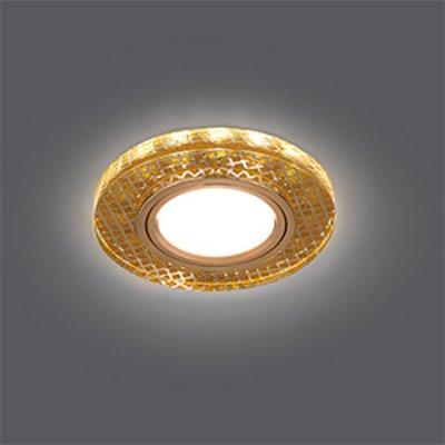Светильник Gauss Backlight BL078 Круг Золото/Кристалл/Золото, Gu5.3, LED 2700KКруглые<br>Встраиваемые светильники – популярное осветительное оборудование, которое можно использовать в качестве основного источника или в дополнение к люстре. Они позволяют создать нужную атмосферу атмосферу и привнести в интерьер уют и комфорт.   Интернет-магазин «Светодом» предлагает стильный встраиваемый светильник Gauss Backlight BL078. Данная модель достаточно универсальна, поэтому подойдет практически под любой интерьер. Перед покупкой не забудьте ознакомиться с техническими параметрами, чтобы узнать тип цоколя, площадь освещения и другие важные характеристики.   Приобрести встраиваемый светильник Gauss Backlight BL078 в нашем онлайн-магазине Вы можете либо с помощью «Корзины», либо по контактным номерам. Мы развозим заказы по Москве, Екатеринбургу и остальным российским городам.<br><br>S освещ. до, м2: 3<br>Тип лампы: галогенная/LED<br>Тип цоколя: GU5.3 (MR16)<br>Количество ламп: 1<br>MAX мощность ламп, Вт: 50<br>Диаметр, мм мм: 90<br>Диаметр врезного отверстия, мм: 65<br>Высота, мм: 25<br>Цвет арматуры: Золотой
