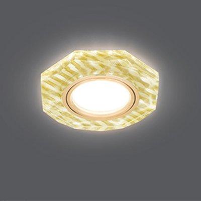 Светильник Gauss Backlight BL079 Восемь гран. Золотые нити/Золото, Gu5.3, LED 2700KКруглые<br>Встраиваемые светильники – популярное осветительное оборудование, которое можно использовать в качестве основного источника или в дополнение к люстре. Они позволяют создать нужную атмосферу атмосферу и привнести в интерьер уют и комфорт.   Интернет-магазин «Светодом» предлагает стильный встраиваемый светильник Gauss Backlight BL079. Данная модель достаточно универсальна, поэтому подойдет практически под любой интерьер. Перед покупкой не забудьте ознакомиться с техническими параметрами, чтобы узнать тип цоколя, площадь освещения и другие важные характеристики.   Приобрести встраиваемый светильник Gauss Backlight BL079 в нашем онлайн-магазине Вы можете либо с помощью «Корзины», либо по контактным номерам. Мы развозим заказы по Москве, Екатеринбургу и остальным российским городам.<br><br>S освещ. до, м2: 3<br>Тип лампы: галогенная/LED<br>Тип цоколя: GU5.3 (MR16)<br>Количество ламп: 1<br>MAX мощность ламп, Вт: 50<br>Диаметр, мм мм: 90<br>Диаметр врезного отверстия, мм: 65<br>Высота, мм: 25<br>Цвет арматуры: Золотой