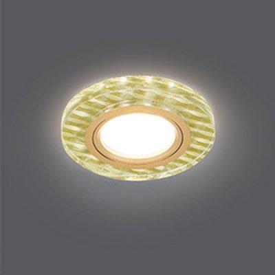 Светильник Gauss Backlight BL080 Круг гран. Золотые нити/Золото, Gu5.3, LED 2700KКруглые<br>Встраиваемые светильники – популярное осветительное оборудование, которое можно использовать в качестве основного источника или в дополнение к люстре. Они позволяют создать нужную атмосферу атмосферу и привнести в интерьер уют и комфорт.   Интернет-магазин «Светодом» предлагает стильный встраиваемый светильник Gauss Backlight BL080. Данная модель достаточно универсальна, поэтому подойдет практически под любой интерьер. Перед покупкой не забудьте ознакомиться с техническими параметрами, чтобы узнать тип цоколя, площадь освещения и другие важные характеристики.   Приобрести встраиваемый светильник Gauss Backlight BL080 в нашем онлайн-магазине Вы можете либо с помощью «Корзины», либо по контактным номерам. Мы развозим заказы по Москве, Екатеринбургу и остальным российским городам.<br><br>S освещ. до, м2: 3<br>Тип лампы: галогенная/LED<br>Тип цоколя: GU5.3 (MR16)<br>Количество ламп: 1<br>MAX мощность ламп, Вт: 50<br>Диаметр, мм мм: 95<br>Диаметр врезного отверстия, мм: 65<br>Высота, мм: 25<br>Цвет арматуры: Золотой
