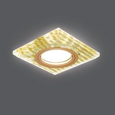 Светильник Gauss Backlight BL081 Квадрат. Золотые нити/Золото, Gu5.3, LED 2700KКвадратные<br>Встраиваемые светильники – популярное осветительное оборудование, которое можно использовать в качестве основного источника или в дополнение к люстре. Они позволяют создать нужную атмосферу атмосферу и привнести в интерьер уют и комфорт.   Интернет-магазин «Светодом» предлагает стильный встраиваемый светильник Gauss Backlight BL081. Данная модель достаточно универсальна, поэтому подойдет практически под любой интерьер. Перед покупкой не забудьте ознакомиться с техническими параметрами, чтобы узнать тип цоколя, площадь освещения и другие важные характеристики.   Приобрести встраиваемый светильник Gauss Backlight BL081 в нашем онлайн-магазине Вы можете либо с помощью «Корзины», либо по контактным номерам. Мы развозим заказы по Москве, Екатеринбургу и остальным российским городам.<br><br>S освещ. до, м2: 3<br>Тип лампы: галогенная/LED<br>Тип цоколя: GU5.3 (MR16)<br>Количество ламп: 1<br>Ширина, мм: 95<br>MAX мощность ламп, Вт: 50<br>Диаметр врезного отверстия, мм: 65<br>Длина, мм: 95<br>Высота, мм: 25<br>Цвет арматуры: Золотой