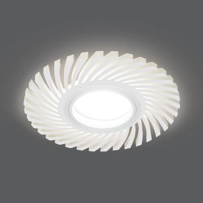 Светильник Gauss Backlight BL134 Кругл./узор. Белый, Gu5.3, 3W, LED 3000KМеталлические потолочные светильники<br><br><br>Тип лампы: галогенная/LED - светодиодная<br>Тип цоколя: GU5.3<br>Цвет арматуры: белый<br>Количество ламп: 1<br>Диаметр, мм мм: 120<br>Поверхность арматуры: матовая<br>Оттенок (цвет): белый<br>MAX мощность ламп, Вт: 50