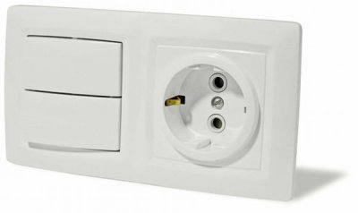 Lexel Этюд Выключатель 2-клав+розетка BPA16-242BКрем<br><br>