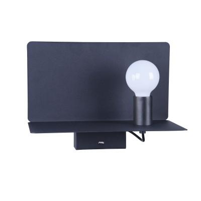 Настенный светильник Maytoni C182-TL-01-B Rack RackБра хай тек стиля<br><br><br>Тип лампы: Накаливания / энергосбережения / светодиодная<br>Тип цоколя: E27<br>Цвет арматуры: Черный<br>Количество ламп: 1<br>Ширина, мм: 350<br>Глубина, мм: 195<br>Высота, мм: 258<br>MAX мощность ламп, Вт: 60