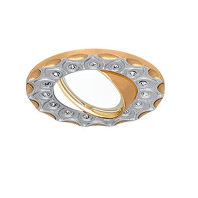 Светильник Gauss Strass CA024 Круг. Серебро/Золото, Gu5.3Круглые<br><br><br>S освещ. до, м2: 3<br>Тип товара: светильник встраиваемый<br>Скидка, %: 28<br>Тип лампы: галогенная/LED<br>Тип цоколя: GU5.3 (MR16)<br>Количество ламп: 1<br>MAX мощность ламп, Вт: 50<br>Диаметр, мм мм: 95<br>Диаметр врезного отверстия, мм: 80<br>Высота, мм: 30<br>Цвет арматуры: Золотой