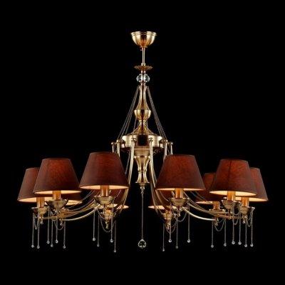 Люстра Maytoni CL0100-10-R Classic 4Подвесные<br>Хрустальная люстра от компании Майтони CL0100-10-R невероятно шикарная, очаровательная осветительная конструкция, придающая комнате стиль и элегантность. Посмотрев на фото хрустальной люстры Maytoni Royal Classic CL0100-10-R, вы увидите десять тканевых плафонов, окрашенных в приятный коричневый цвет. В центре плафонов расположена штанга, внешний вид которой можно сравнить с настоящим произведением искусства. Ее шедевральная форма состоит из множества переходов, выемок и декоративных элементов. Особая эстетическая ценность модели ? металлические цепочки, ниспадающие водопадными волнами к плафонам. Чтобы купить это изделие от Maytoni по справедливой стоимости, оформляйте заявку прямо сегодня.<br><br>Установка на натяжной потолок: Да<br>S освещ. до, м2: 40<br>Крепление: Крюк<br>Тип лампы: накаливания / энергосбережения / LED-светодиодная<br>Тип цоколя: E14<br>Количество ламп: 10<br>MAX мощность ламп, Вт: 60<br>Диаметр, мм мм: 750<br>Длина цепи/провода, мм: 200<br>Высота, мм: 650<br>Цвет арматуры: бронзовый