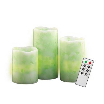 Светодиодные свечи JAZZway CL1-SET3Gn зеленые с пультомСветодиодные свечи<br>Комплект светодиодных восковых свечей разной высоты<br>Предназначены для декоративного освещения внутри помещений<br>Эффект мерцающей свечи<br>Пульт дистанционного управления<br>Безопасны, нет дыма и копоти<br>Очень экономичны<br><br>Габариты: 100 х 75 х 75; 127 х 75 х 75 ; 150 х 75 х 75<br><br>Тип лампы: LED