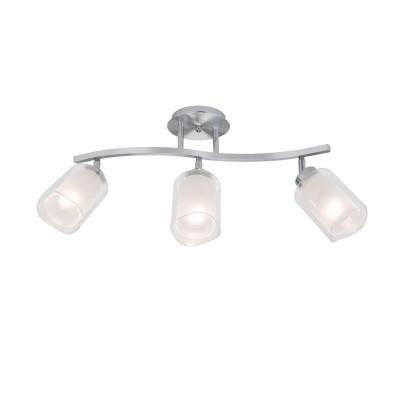 CL169131 Аэлита ЛюстраТройные<br>Длина 57см, Ширина 14см, Высота 29см, Плафоны составные с прозрачной и матовой частями, установлены на шарнирах, Арматура из алюминия и хромированной стали<br><br>Тип лампы: Накаливания / энергосбережения / светодиодная<br>Тип цоколя: E14<br>Ширина, мм: 140<br>MAX мощность ламп, Вт: 60<br>Длина, мм: 570<br>Высота, мм: 290