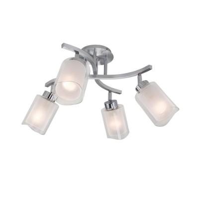CL169141 Аэлита ЛюстраС 4 лампами<br>Диаметр 45см, Высота 31см, Плафоны составные с прозрачной и матовой частями, установлены на шарнирах, Арматура из алюминия и хромированной стали<br><br>S освещ. до, м2: 12<br>Тип лампы: Накаливания / энергосбережения / светодиодная<br>Тип цоколя: E14<br>Количество ламп: 4<br>Ширина, мм: 450<br>Длина, мм: 450<br>Высота, мм: 310<br>MAX мощность ламп, Вт: 60