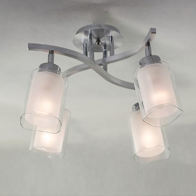 CL169141 Алита ЛстраС 4 лампами<br>Диаметр 45см, Высота 31см, Плафоны составные с прозрачной и матовой частми, установлены на шарнирах, Арматура из алмини и хромированной стали<br><br>Тип лампы: Накаливани / нергосбережени / светодиодна<br>Тип цокол: E14<br>Количество ламп: 4<br>Ширина, мм: 450<br>MAX мощность ламп, Вт: 60<br>Длина, мм: 450<br>Высота, мм: 310