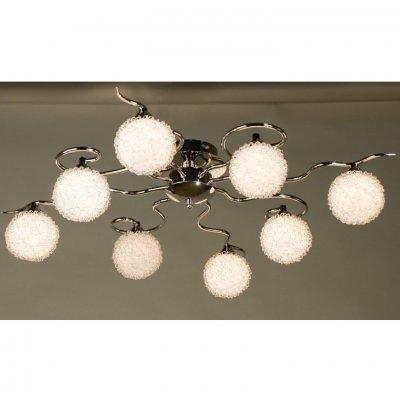 Citilux CL218181 ЛюстраПотолочные<br><br><br>Установка на натяжной потолок: Ограничено<br>S освещ. до, м2: 21<br>Крепление: Планка<br>Тип товара: Люстра<br>Тип лампы: галогенная / LED-светодиодная<br>Тип цоколя: G9<br>Количество ламп: 8<br>MAX мощность ламп, Вт: 40<br>Размеры: Габариты 52х52см, Высота 17см, Стекло с декором из алюм. проволоки<br>Поверхность арматуры: глянцевый<br>Цвет арматуры: серебристый